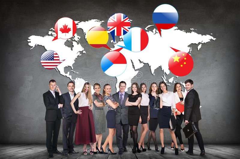Flags of different countries on the white map. Elements of this image furnished by NASA royalty free stock photo