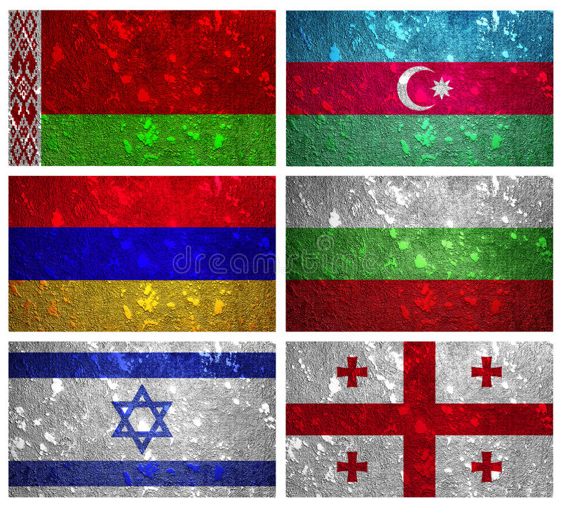 Flags of Eastern Europe part 1 vector illustration