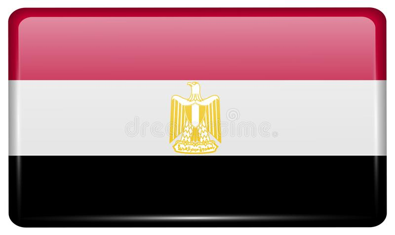 Flags Egypt in the form of a magnet on refrigerator with reflections light. stock illustration