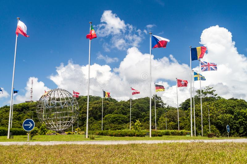 Flags of ESA members at Centre Spatial Guyanais Guiana Space Centre in Kourou, French Guia. Na royalty free stock photography
