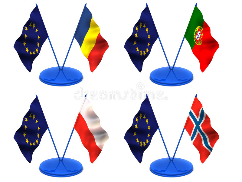 Flags. Euro, Portugal, Romania, Poland, Norway royalty free illustration