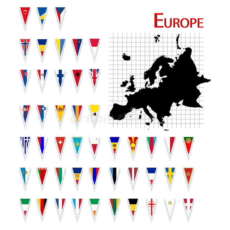 Flags of Europe. Complete set of Europe flags and map, isolated and grouped objects over white background royalty free illustration