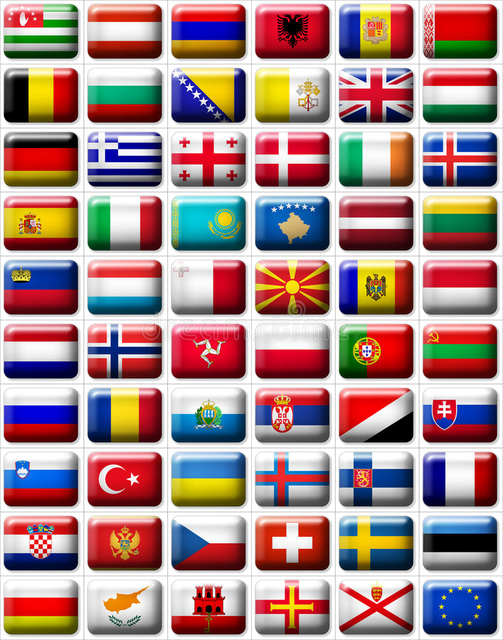 Flags of Europe. 60 flags icons (buttons) of Europe 599x457 pixels including not recognised countries vector illustration