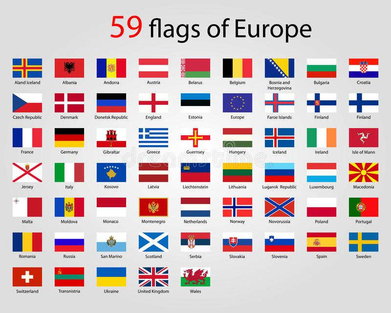 Flags of Europe - Full Vector Collection. World flags royalty free illustration