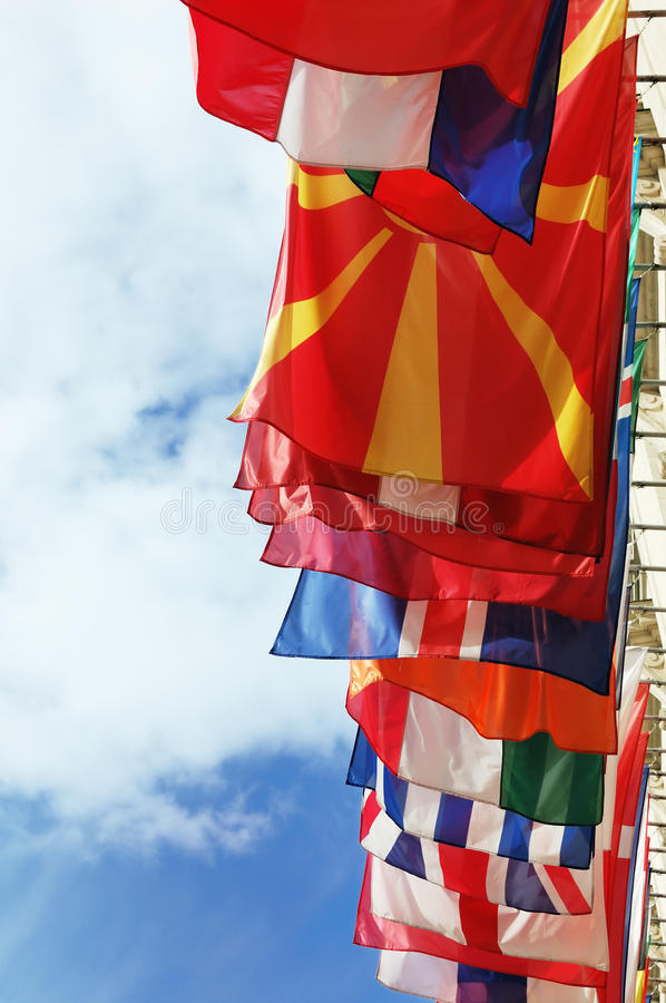 Flags Of Europe States Against Cloudy Sky Royalty Free Stock Images