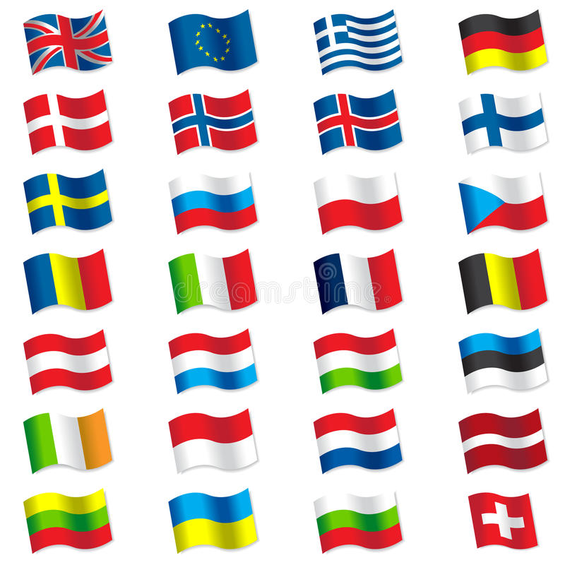 Flags of Europe vector illustration