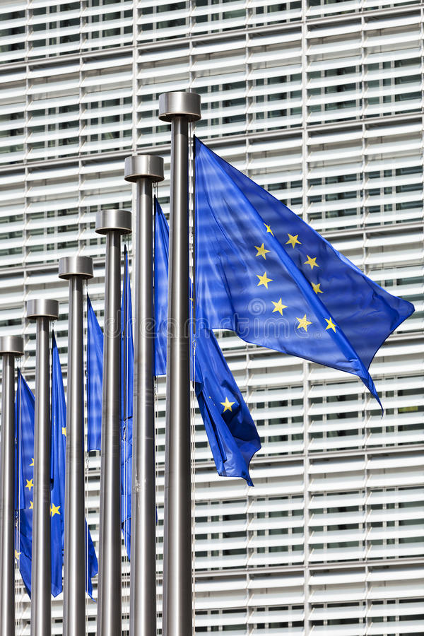 Flags at European Commission in Brussels. EU flags at European Commission in Brussels royalty free stock image
