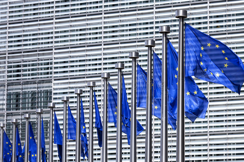Flags at European Commission in Brussels. EU flags at European Commission in Brussels stock images