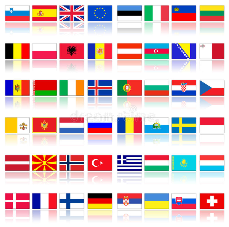 Flags Of European Countries Royalty Free Stock Photography