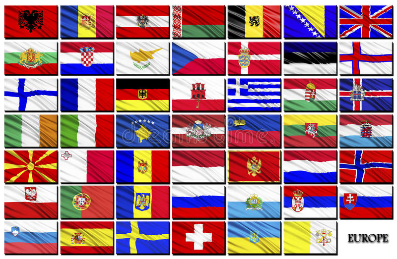 Flags of European countries stock illustration