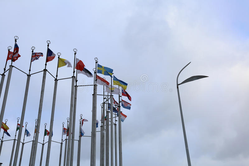 Flags of European countries. Flags of the countries of the European Union in cloudy weather stock image