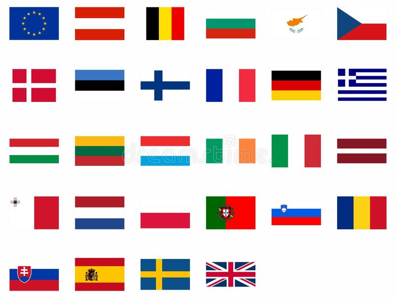 Flags of the European Union stock photos