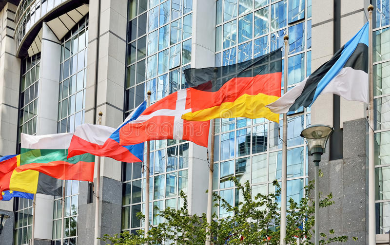 Flags of European Union countries at European Parliament in Brussels stock photo