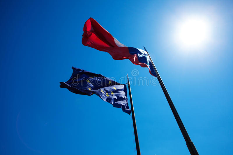 Flags Of The European Union And The Czech Republic Royalty Free Stock Images
