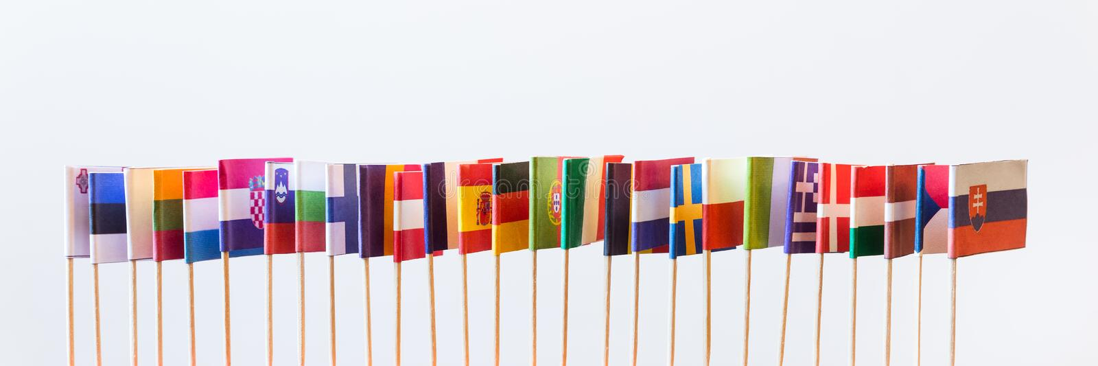 Flags of the european union members royalty free stock image