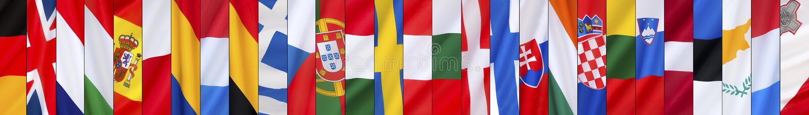 The 28 Flags of the European Union - Page Header stock image