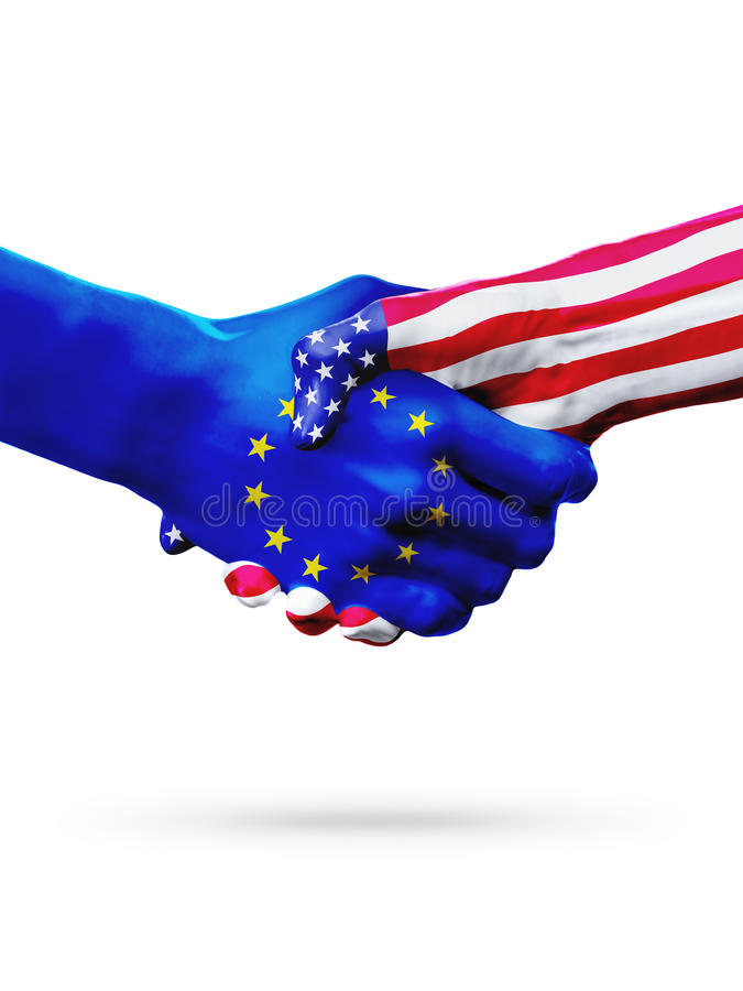 Flags European Union, United States countries, overprinted handshake. Flags European Union, United States countries, handshake cooperation, partnership and royalty free stock image