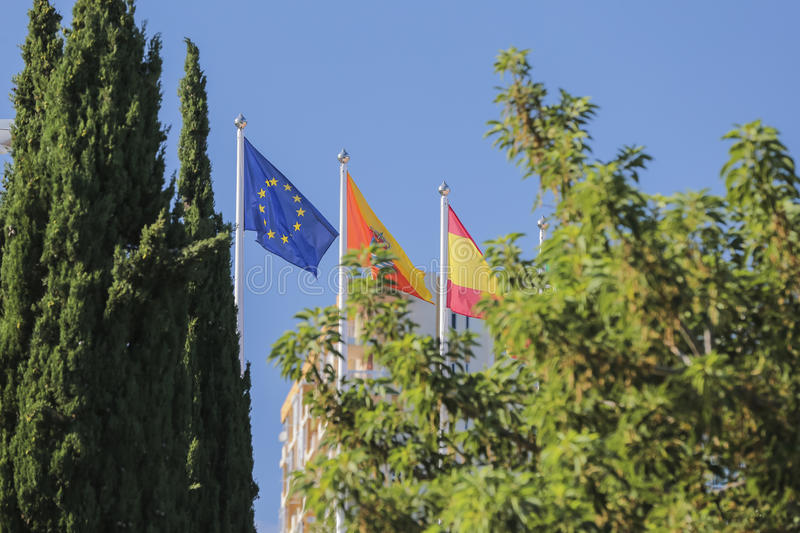 Flags of the European Union. Are in the wind stock photos