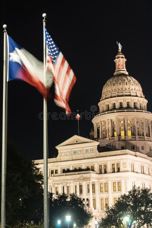 Free Flags Fly Night Falls Austin Texas Capital Building Motion Royalty Free Stock Photos - 104143238