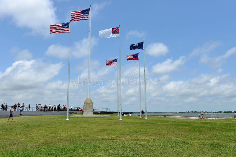 Flags flying over Fort Sumter - Charleston SC royalty free stock photos