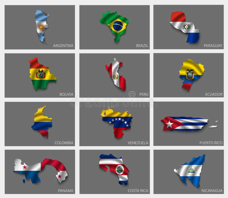 Flags in the form of states. With shadows royalty free illustration