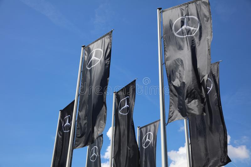 Flags in Front of the Mercedes-Benz Museum in Stuttgart. Germany royalty free stock images