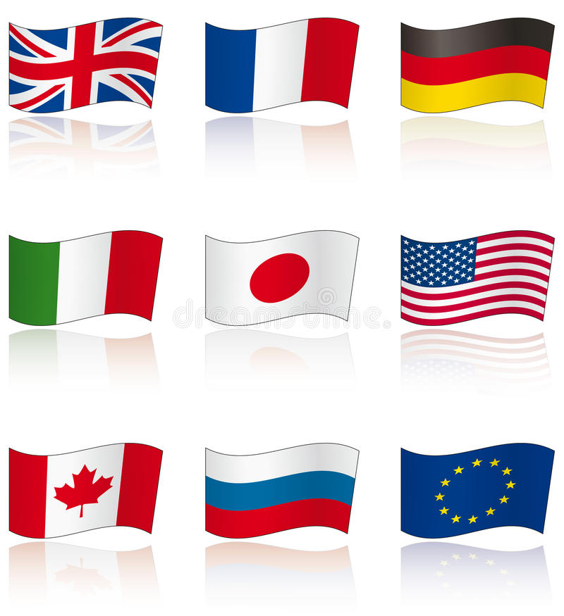 Flags Of G8 Members With Reflection Royalty Free Stock Photography