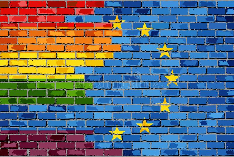 Brick Wall European Union and Gay flags vector illustration