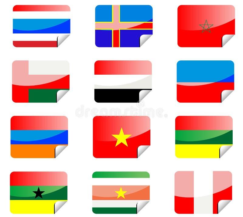 flags glansiga etiketter vektor illustrationer
