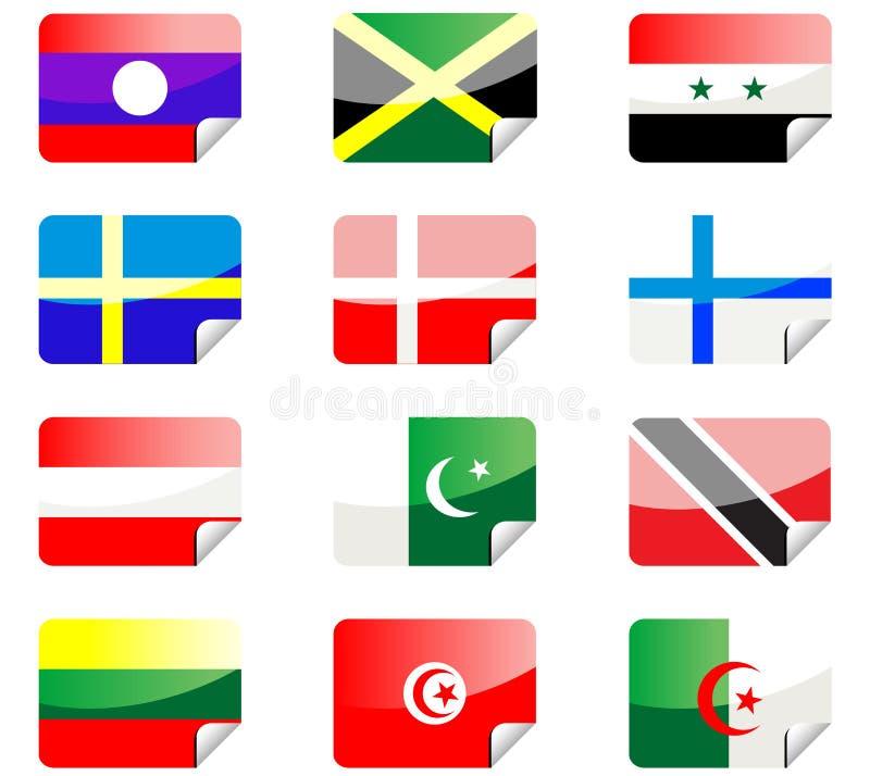 flags glansiga etiketter stock illustrationer