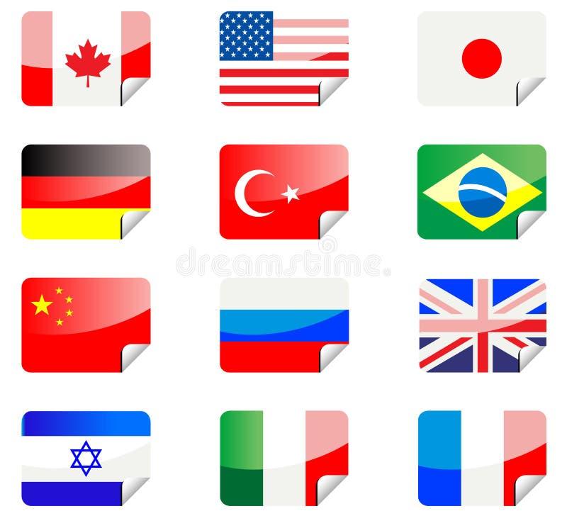 flags glansiga etiketter