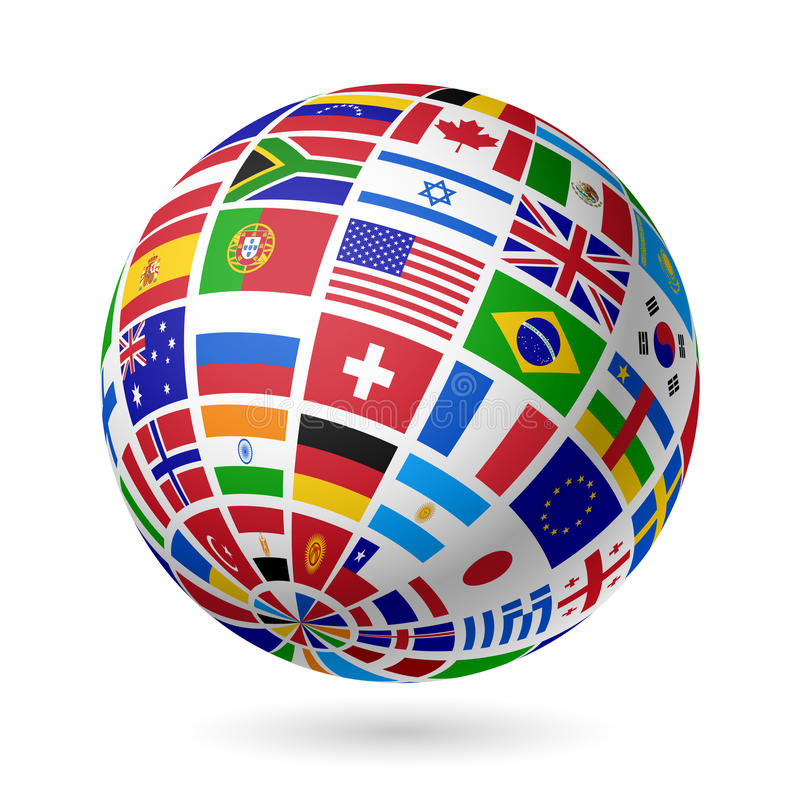 Flags globe. Vector illustration on white