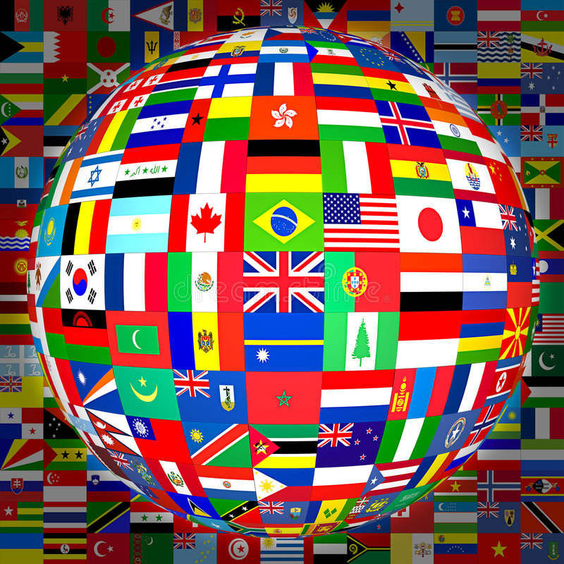 Flags Globe (with background). Flags of the world in globe format (with background stock illustration