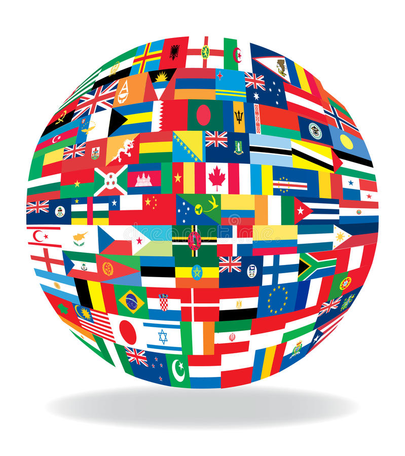 flags in globe form royalty free illustration