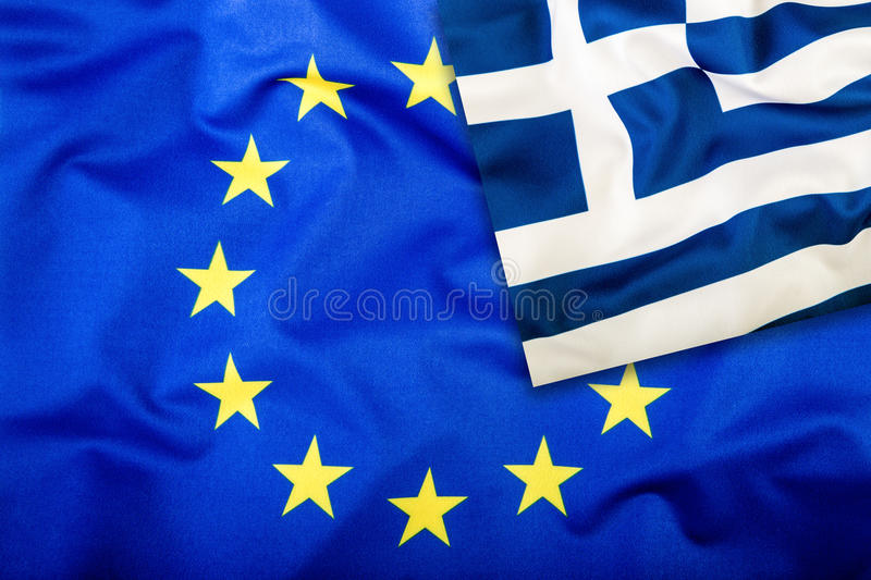 Flags of the Greece and the European Union. Greece Flag and EU Flag. Flag inside stars. World flag concept stock images