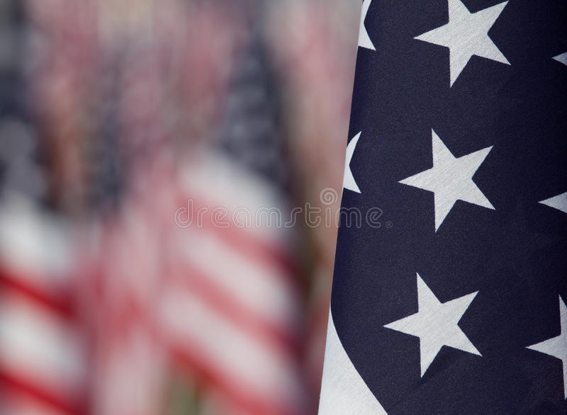Flags in the Healing Fields for 9/11 stock image