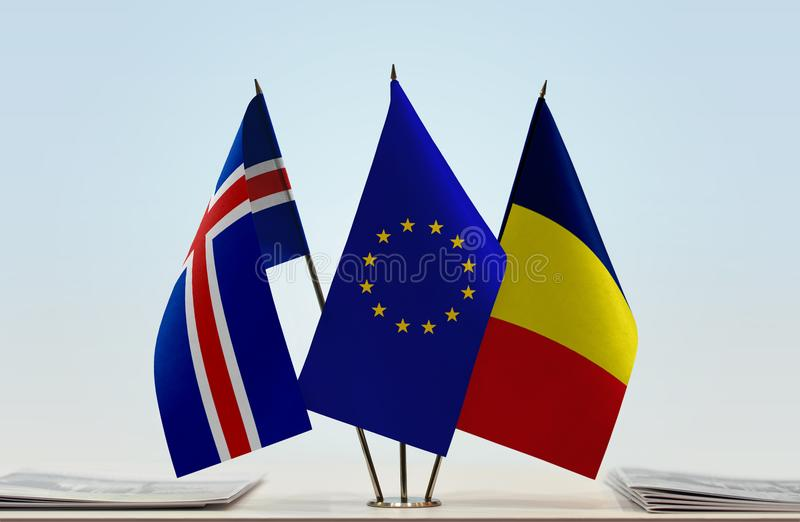 Flags of Iceland EU and Chad. Desktop flags of Iceland and Chad with European Union flag in the middle stock images