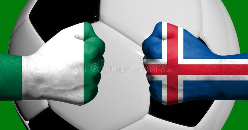 Flags of Iceland and Nigeria painted on two clenched fists facing each other with closeup 3d soccer ball in the background/Soccer royalty free illustration