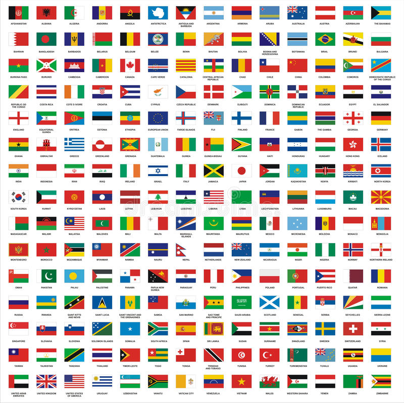 Flags. Illustration of 210 country flags