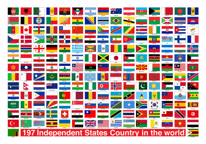 197 Flags Independent States Country in the world stock image