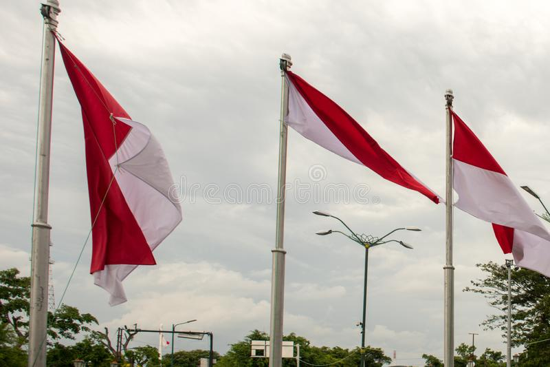 Flags of Indonesia at Titik Nol Kilometer, Yogyakarta. Yogyakarta, Special Region of Yogyakarta/Indonesia - January 6, 2020: Flags of Indonesia at Titik Nol stock photos