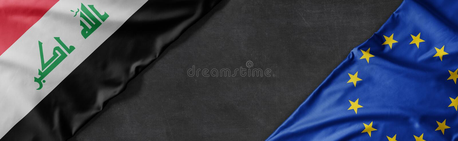 Flags of Iraq and the European Union with copy space royalty free stock photos