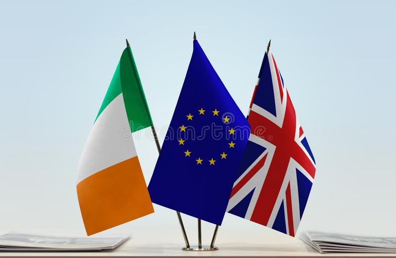 Flags of Ireland European Union and United Kingdom of Great Britain. Desktop flags of Ireland European Union and United Kingdom of Great Britain stock photography