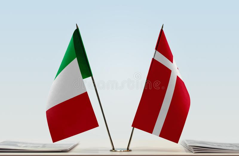 Flags of Italy and Denmark. Two table flags of Italy and Denmark royalty free stock photos