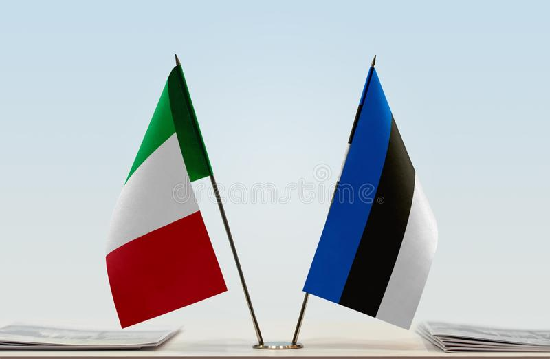 Flags of Italy and Estonia. Two table flags of Italy and Estonia royalty free stock photos