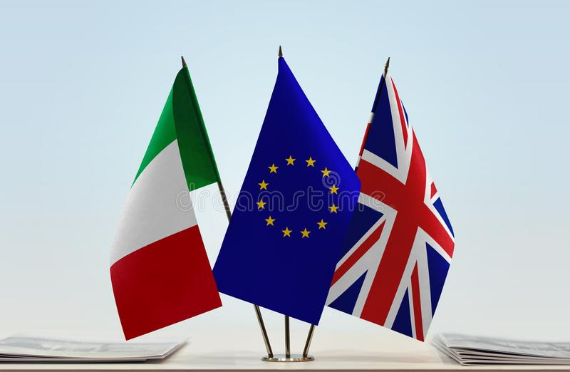 Flags of Italy European Union and United Kingdom of Great Britain royalty free stock images