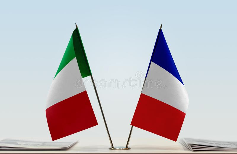 Flags of Italy and France royalty free stock image