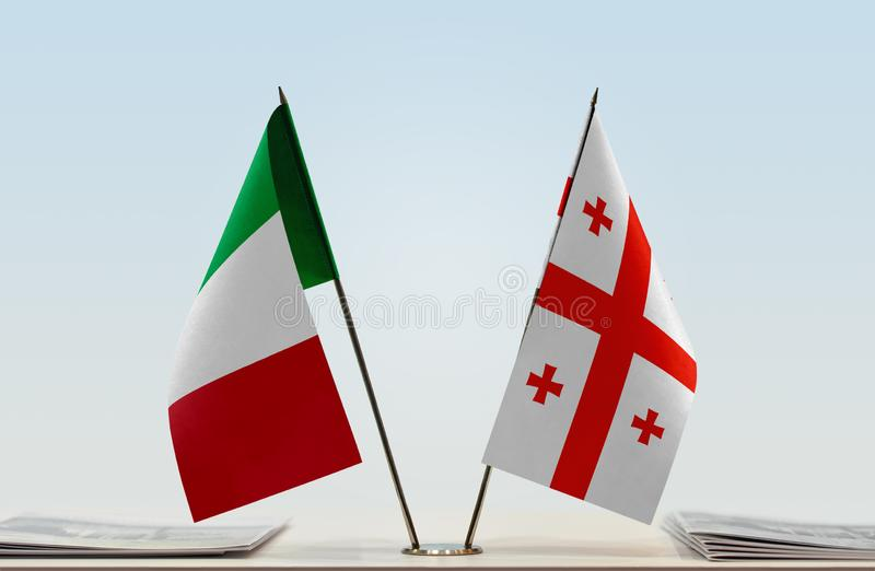 Flags of Italy and Georgia. Two table flags of Italy and Georgia royalty free stock photo
