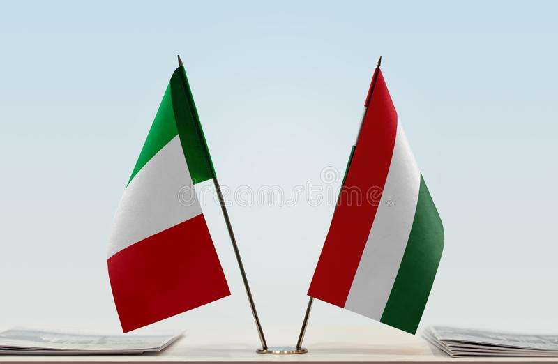 Flags of Italy and Hungary. Two table flags of Italy and Hungary stock images