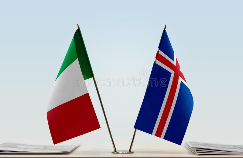Flags of Italy and Iceland. Two table flags of Italy and Iceland stock photography